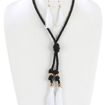 Double Tassel Knotted Rope Cord lic Bead  20  Necklace Earring Set