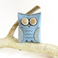 Blue Owl Earbud Case - Leather & Recycled Bicycle Tube