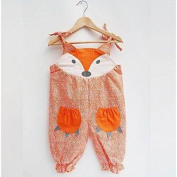 Newborn Toddler Baby Girls Cotton Sleeveless Fox Romper Jumpsuit Clothes Outfits 0-24M