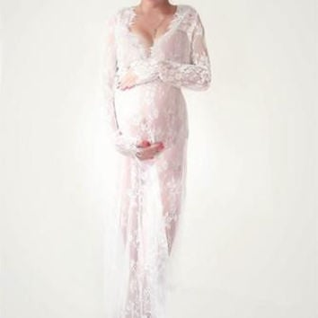 CCO03-Long Sleeve Lace Maternity Dress Photo Shoot Prop (Multiple Colors Available)
