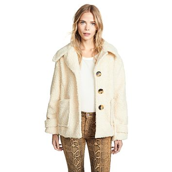 Free People So Soft Cozy Peacoat Ivory