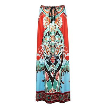 Dashiki Skirt African Print Clothing Boho Chic Summer Beach Maxi Skirts Vintage Flare high waist Tribal Print jupe longue femme