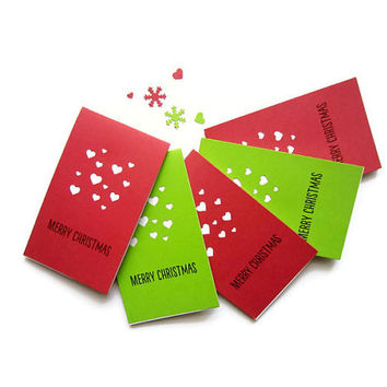 "2.5"" x 4.25"" Mini Christmas Card /Red and Green / Handmade Christmas Card/ Hearts / Happy Holiday / Merry Christmas / Set of 8"