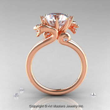 Art Masters 14K Rose Gold 3.0 Ct White Sapphire Dragon Engagement Ring R601-14KRGWS