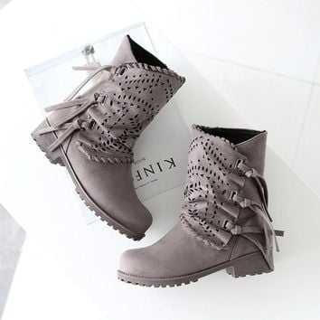 Hot Deal On Sale Tassels Hollow Out Zippers Boots [120847826969]