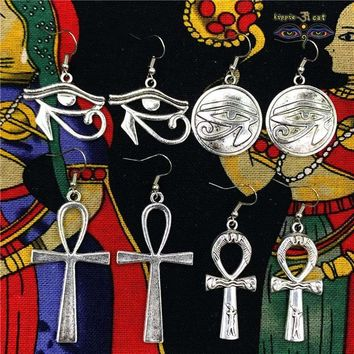 Egyptian And India Tribal Jewelry The Eye of Horus Antique Silver Earring