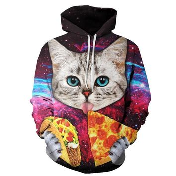 Pizza Cat Hoodies - Men's Novelty Pullover Hooded Sweatshirts