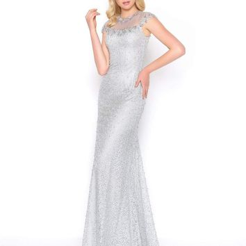 Mac Duggal - 50504D Jewel Illusion Neckline Sheath Evening Gown
