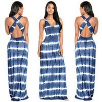 Cross Back Stripped Maxi Dress