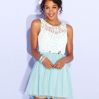 BCX Juniors Dress, Sleeveless Colorblock Lace A-Line - Juniors Dresses - Macy's