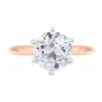 Old European Cut (OEC) Round Moissanite 14K or 18K Two-Tone Rose Gold Band and White Gold 6 Prongs Solitaire Ring