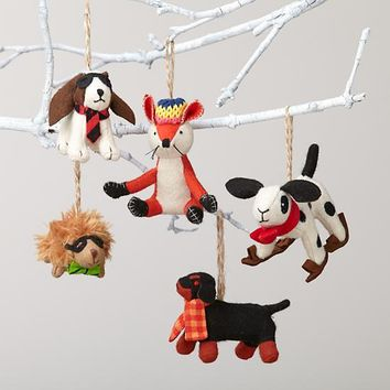 Woodland Prep Animal Ornaments
