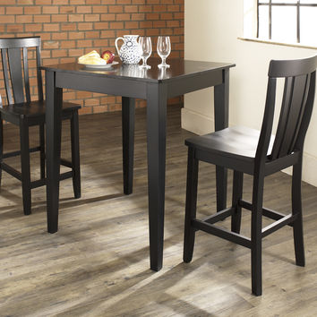 Crosley 3 Piece Pub Dining Set With Tapered Leg And Shield Back Stools
