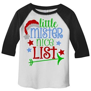 Shirts By Sarah Boy's Little Mister Nice List Funny Christmas 3/4 Sleeve Baseball Raglan Shirt
