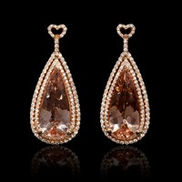 1.49ct Diamond and Morganite 18k Rose Gold Pear Shape Dangle Earrings