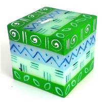 Hand-Painted Cube Candle Farih Design - Nobunto