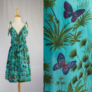 RESERVED Vintage 1970's Sun Dress Butterfly Print Cute Tie Shoulders