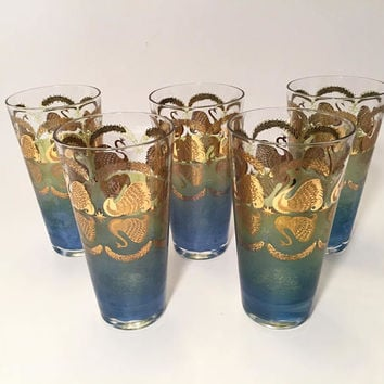 Cera Glass Gold Swan Tumblers, Set of 5 Blue & Green Vintage Drinking Glasses RARE