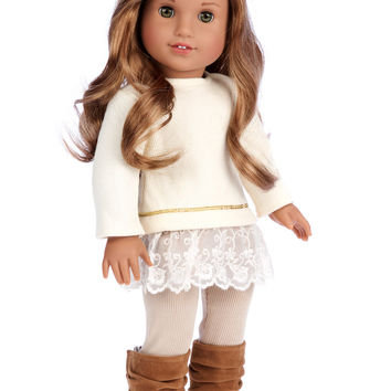 Romantic Melody - Doll Clothes for 18 inch American Girl Doll - 3 Piece Outfit - Tunic, Leggings and Boots