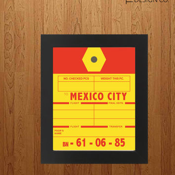 Printable Art - Travel Gift - Mexico City -  Luggage Tag - Instant Download