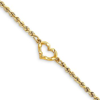 14k Yellow Gold Rope with Heart Anklet, 10 Inch