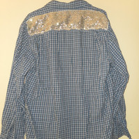 Sequin Shirt Boyfriend Shirt Brushed Cotton One of a Kind