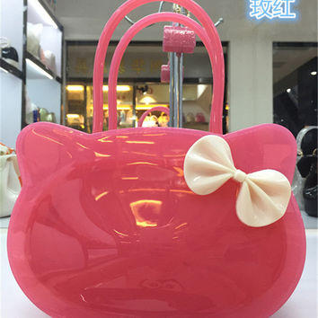 Fashion summer small cute cat Candy Color Women sweet girl Handbag Bow Jelly Bag candy color  kid  Bags
