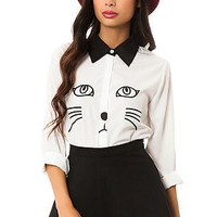 Reverse Blouse The Cat in White