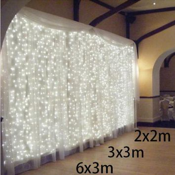 2x2/6x3m led curtain fairy string light 300 bulb Christmas light home garden party garland Wedding decoration fairy light