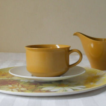 60s Dishes Place Setting Melmac Dishes Melmac Set Melamine Set Melmac Melamine Dinnerware Melmac Dishes Lenox Ware Mustard Yellow Decor Tea