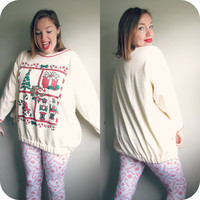 Vintage 80s Ugly Christmas Tree and Presents Party Sweater Tunic