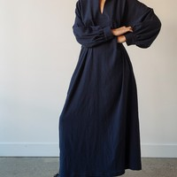 Long Raglan-Yoke Sleeve Dress - Crinkle Cotton