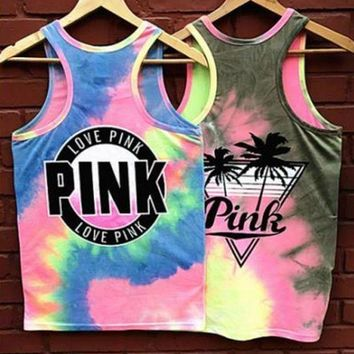 Victoria's Secret PINK Rainbow Gradient Color Coconut Tree Letter Print Vest Tank Sleeveless Pullover Top I