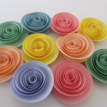"Pastel rainbow baby shower decorations, set of 10 roses, 1.5"" paper flowers, soft colors for nursery decor, bridal shower art, embellishment"