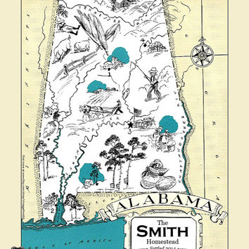 PERSONALIZED ALABAMA MAP Custom Map of Alabama Wedding Gift Housewarming Gift Alabama Home Decor Alabama Wall Decor State Map Mobile Al