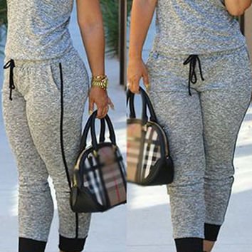 Grey Drawstring Waist V Neck Sleeveless Jumpsuit
