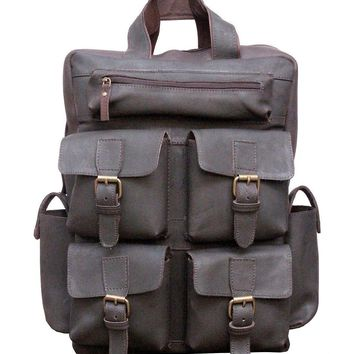 IN-INDIA Hot Selling 4 Pocket Buffalo Leather Large Vintage Rustic Look Messenger Bagpack - Fits Laptop Upto 15.6 Inches