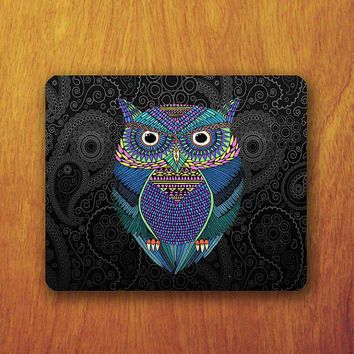 Owl Aztec Mouse Pad Black Aztec Wallpaper Abstract MousePad Computer Office Work Rubber Pad Personalized Boss Design Gift