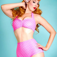 Pink & White polka dot Retro Pin up bikini Two piece swimsuit size xs-xl