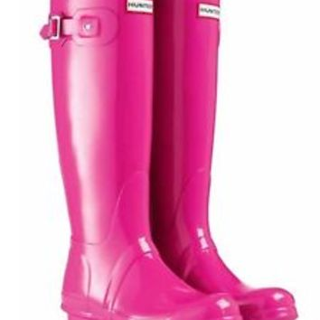 HUNTER ORIGINAL TALL GLOSS LIPSTICK PINK WELLINGTON BOOTS Welly Pink NWT BN