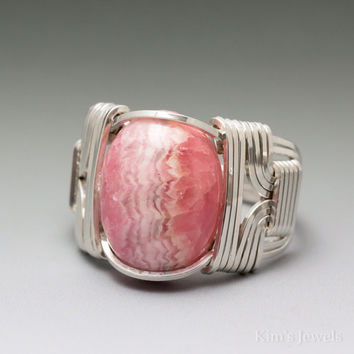 Rhodochrosite Cabochon Sterling Silver Wire Wrapped Ring