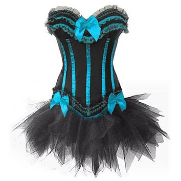 Vocole Gothic Burlesque Corset and Black Tutu Skirt Outfit Women Halloween Costume Witch Dress Body Shape Size S-XXL