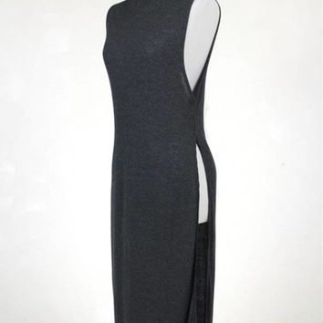 High Neck Sleeveless Knit Long Top/Open Side Slit Light Weight Knit Shirt/Summer Light Knit Sleeveless Top/ ( + Colors )