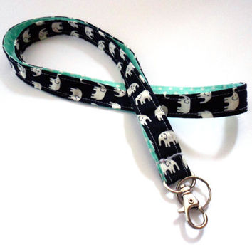 Elephant Lanyard, Aqua and Black, Polka Dot ID Holder, Fabric Key Holder, Teacher Gift, Stocking Stuffer