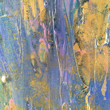 Original abstract acrylic painting 12x16 canvas panel with pinks, blues, purples, teals, and gold.