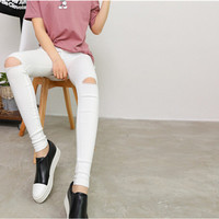 Fashion Cotton Womens Black High Waist Torn Jeans Ripped Hole Knee Skinny