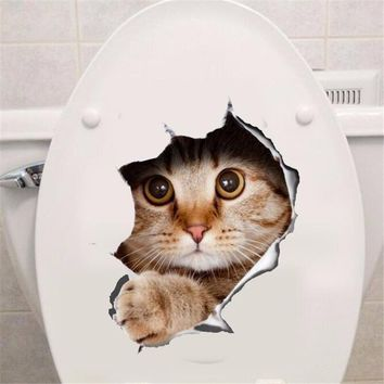 Hole View Vivid Cats Dog 3D Wall Sticker Bathroom Toilet Living Room Kitchen Decoration Decals Art Sticker Poster