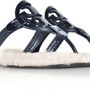 Tory Burch Perfect Navy Shearling Miller Flip Flop w/Metal Logo
