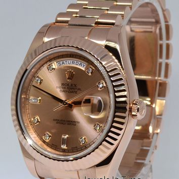 ** Rolex Day-Date II 18k Rose Gold Mens Watch Diamond Dial Box/Papers 218235 **