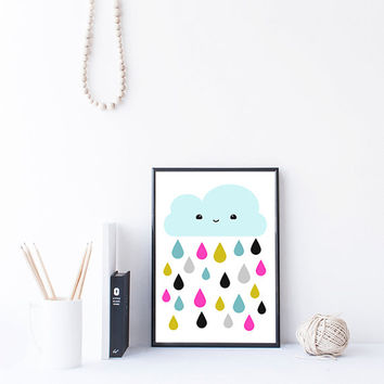 Blue Kawaii Cloud Art, Colorful Raindrops Print, Nursery Printable, Kids Room Wall Art, Instant Download